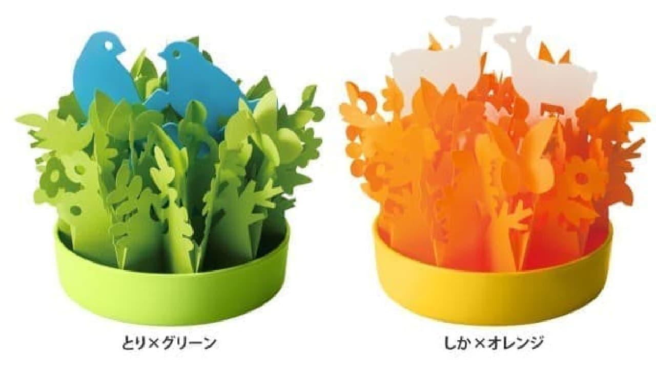 左:爽やかなグリーンの「とり」  右:鮮やかなオレンジの「しか」