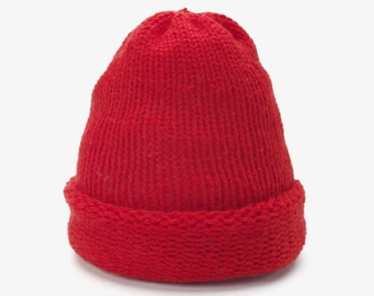 完成したニット帽の例  ちょっと、薄手です