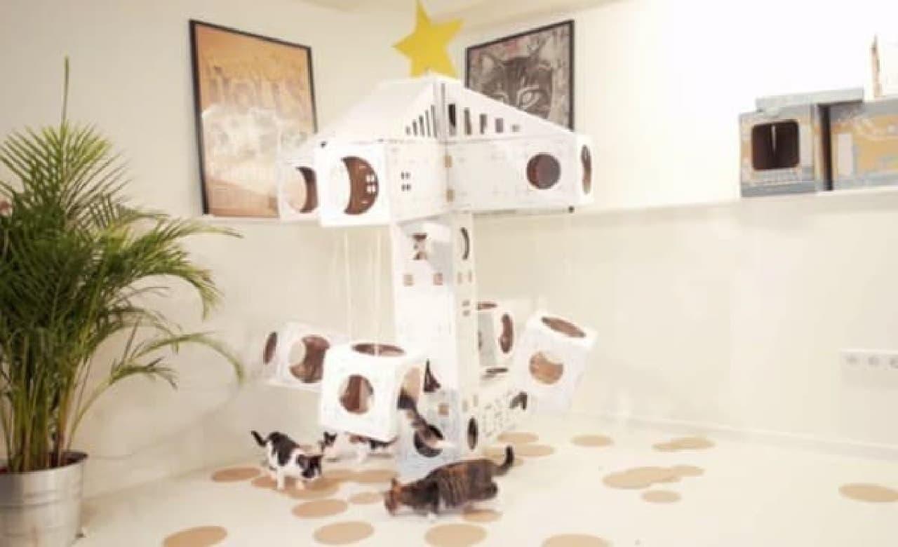 ネコが飽きてしまった場合の対処法その3:「フラワータワー」タイプのキャットタワー