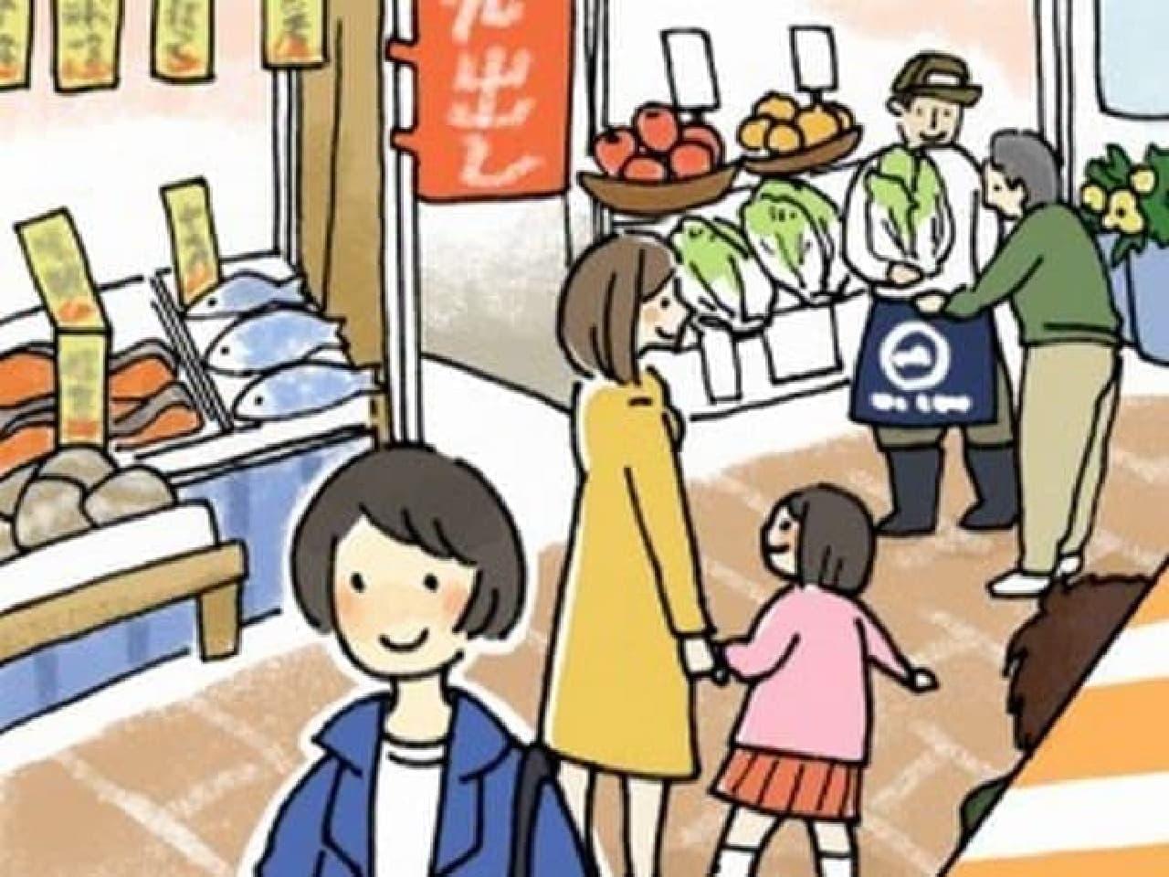 東京都民の好きな商店街は?/イラスト:よしもとなな氏  (「HOME'S」Web サイトより)