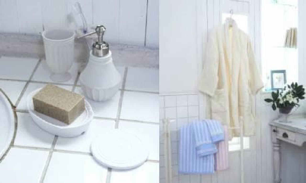 吸水性に優れた陶器製のソープディッシュ(左)や  無撚糸を使用したタオル(右)など機能性も重視