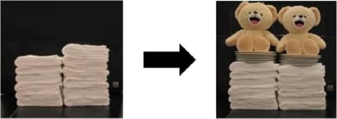 洗濯前のタオル(左列)と比べ、製品使用後(右列)はふっくらとした仕上がりに