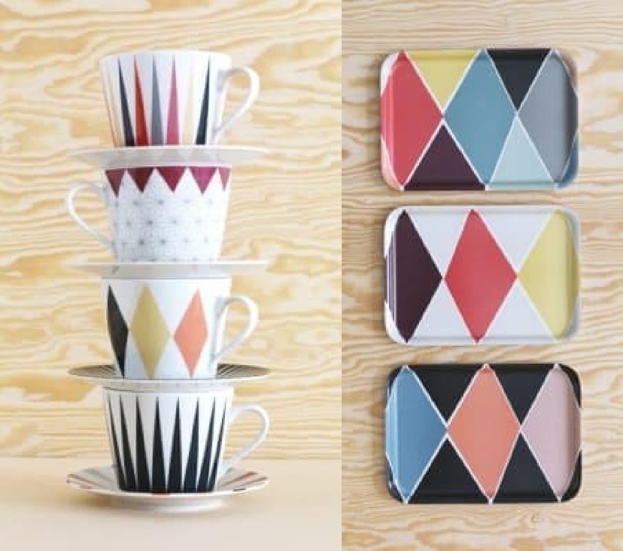 (左)「ブローキグ コーヒーカップ&ソーサー」(1,499円)  (右)「ブローキグ トレイ」(499円/1枚)