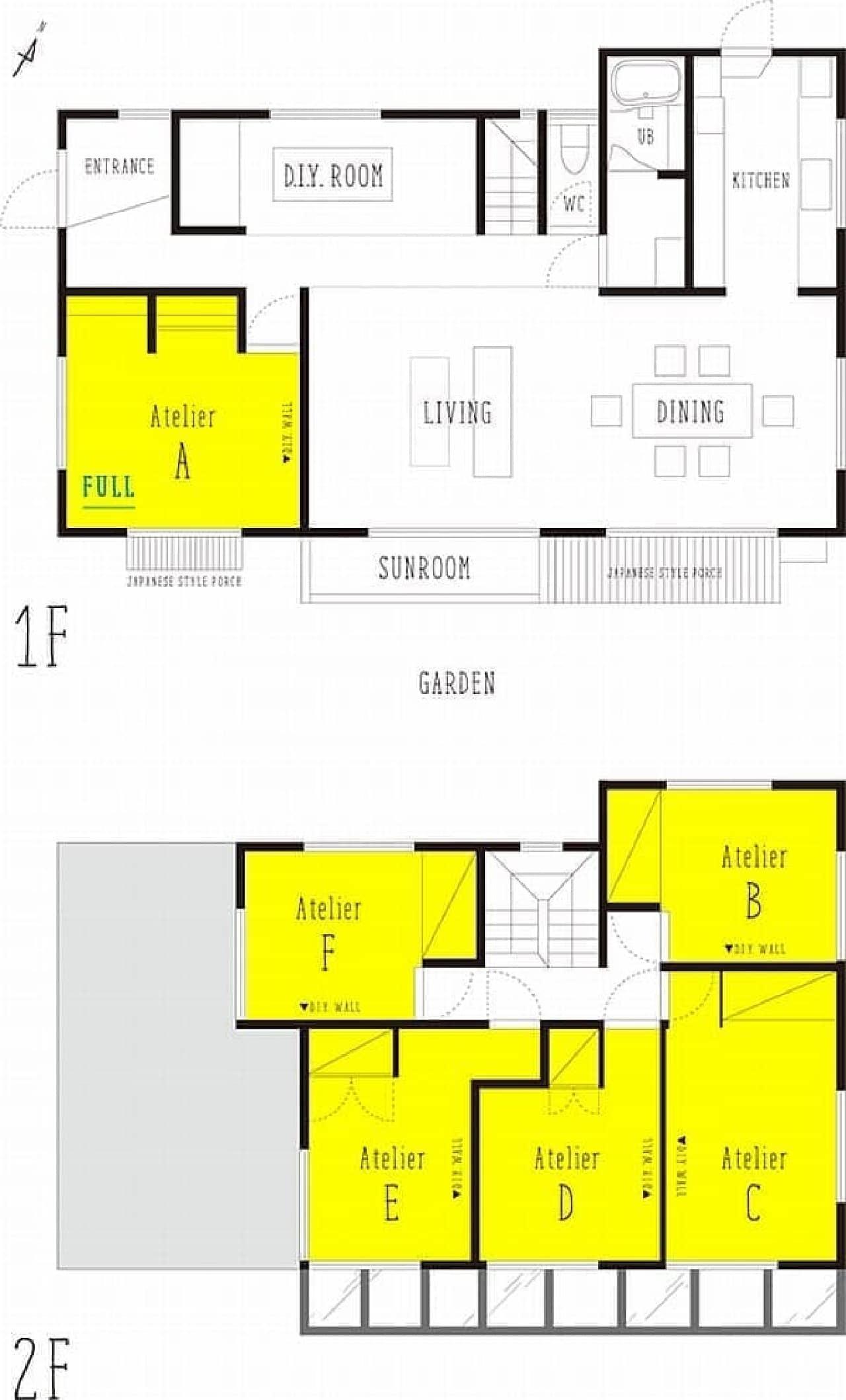 「箱庭の住めるアトリエ」  一階および二階の間取り図