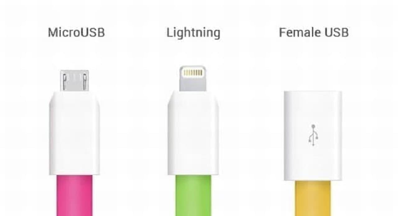 「microUSB」版、「Lightning」版などが用意されています