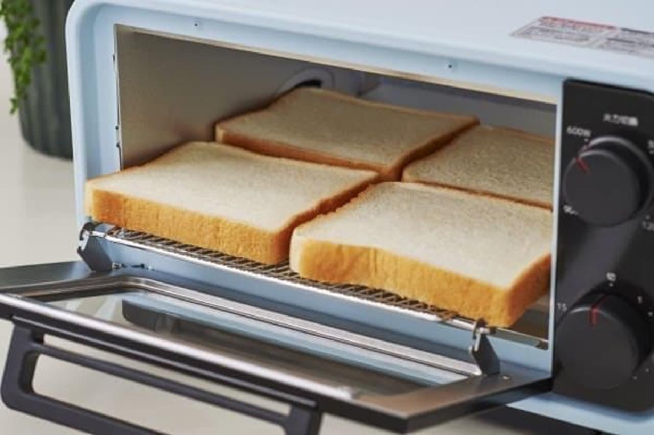 4枚のトーストが一度に焼ける大容量