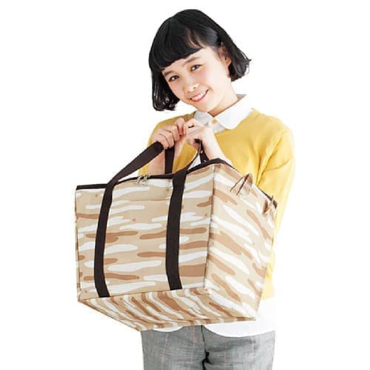 ネコ耳付きのネコ柄保冷機能付きバッグ  スーパーでのお買い物を、ネコが運ぶ(?)