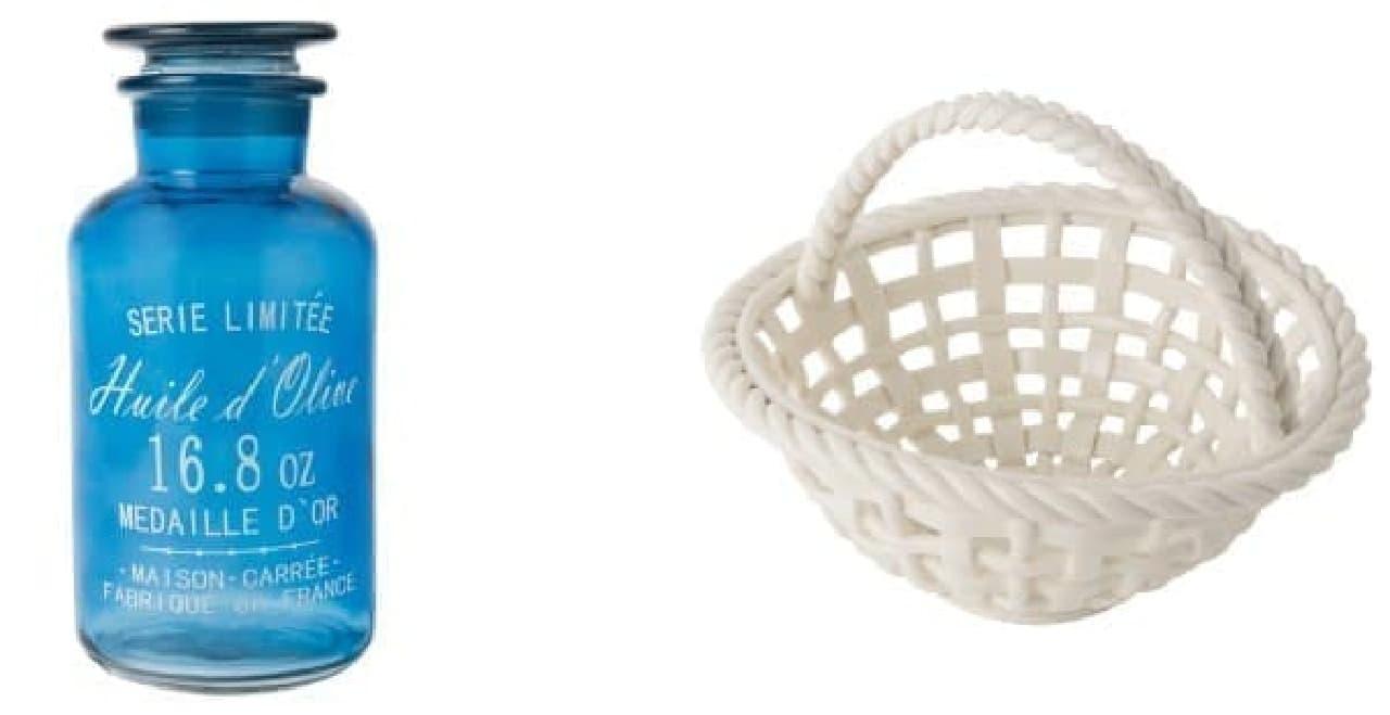 (左)フラワーベースにも使えるガラス瓶(L サイズ、1,500円)  (右)シンプルなセラミックバスケット(S サイズ、2,200円)