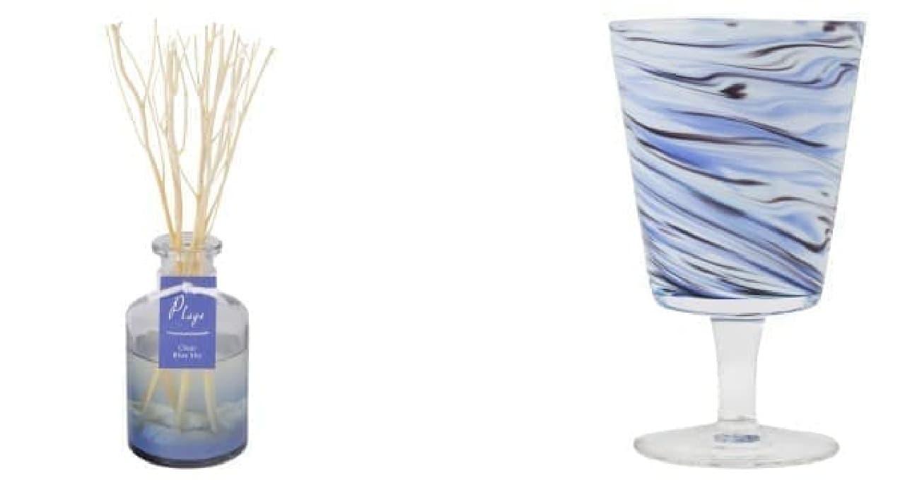 (左)貝殻入りのディフューザー(2,500円)  (右)マーブルガラスの爽やかなタンブラー(1,500円)