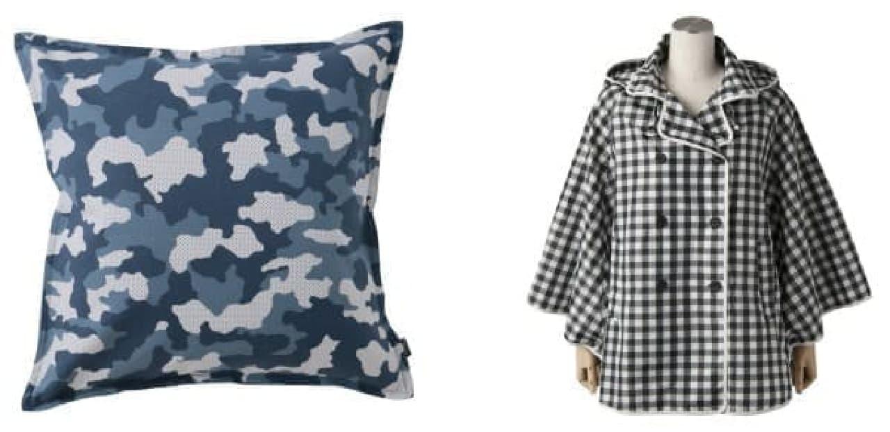 (左)シックな迷彩柄のクッションカバー(3,000円)  (右)雨の日も楽しくなるポンチョ(5,900円)