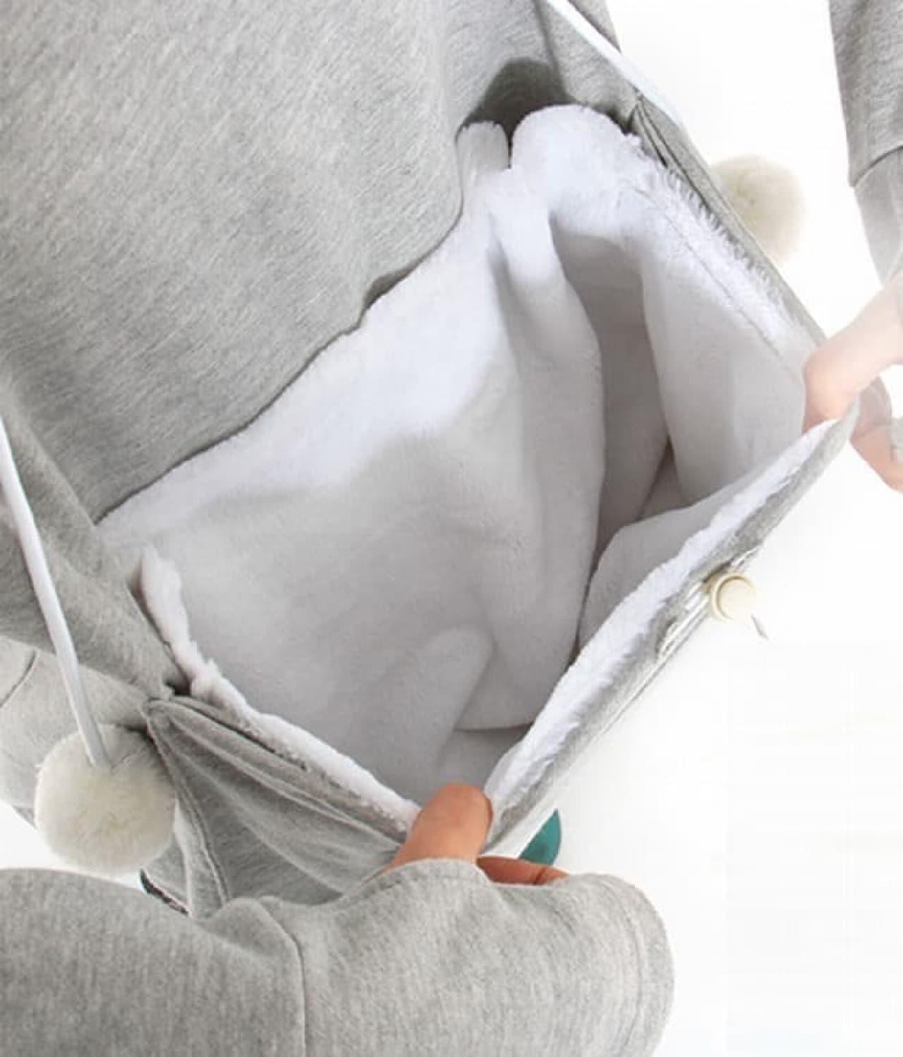 「にゃんガルーパーカー」の猫専用のポケット