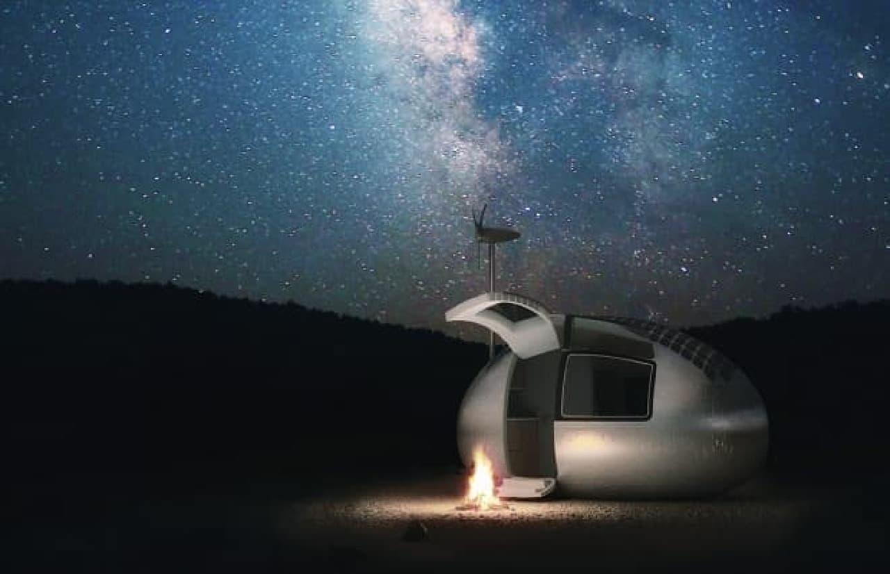 「Ecocapsule」を使ったキャンプでの一夜(イメージ)
