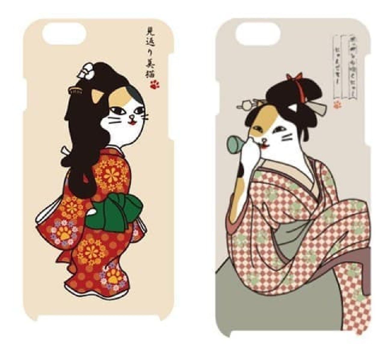 iPhone 6 用スマホケース「見返り美猫 Ver.」(左)と「ポッペンを吹く猫 Ver.」(右)
