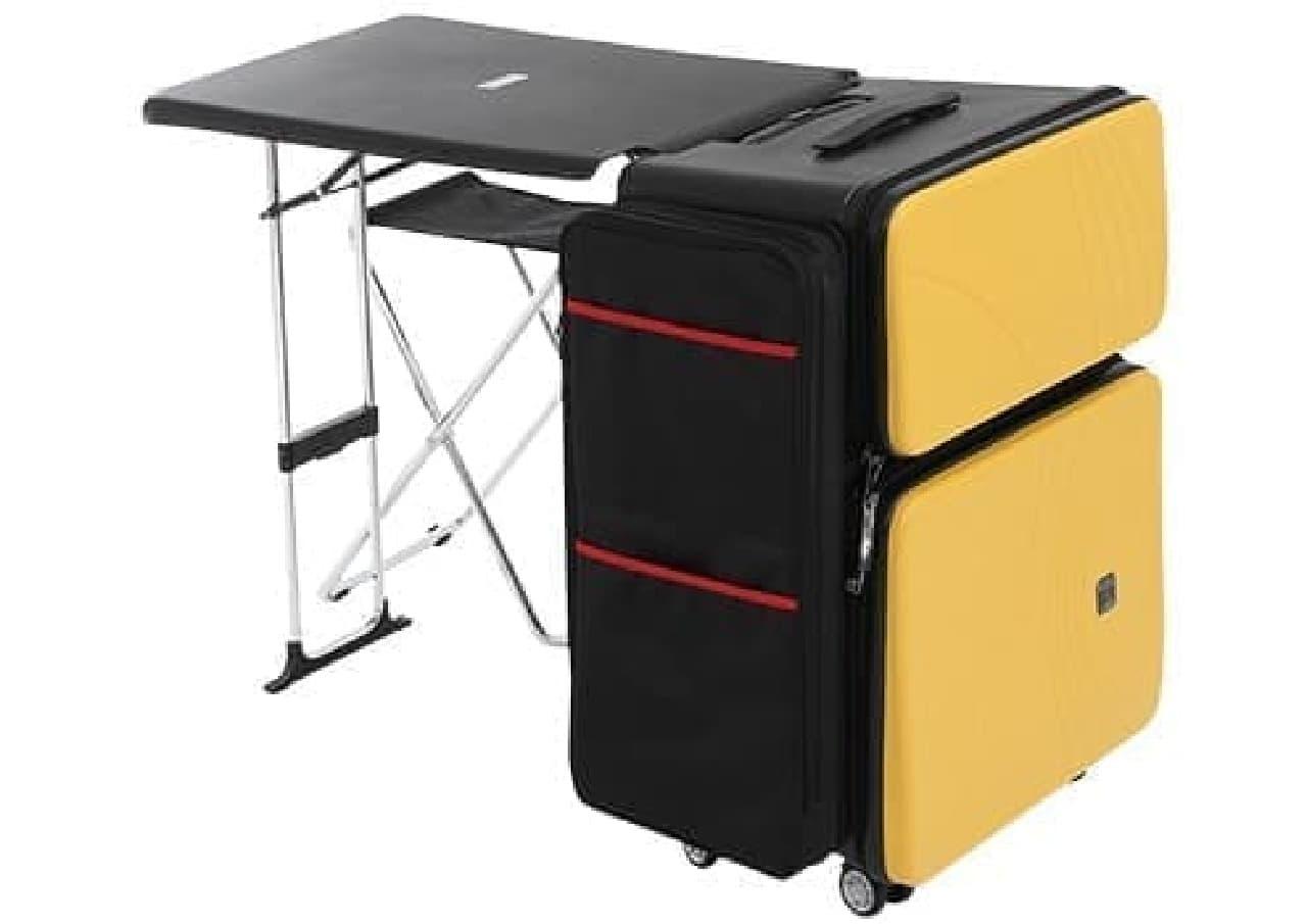 デスクと椅子を内蔵したスーツケース「ノマドスーツケース」