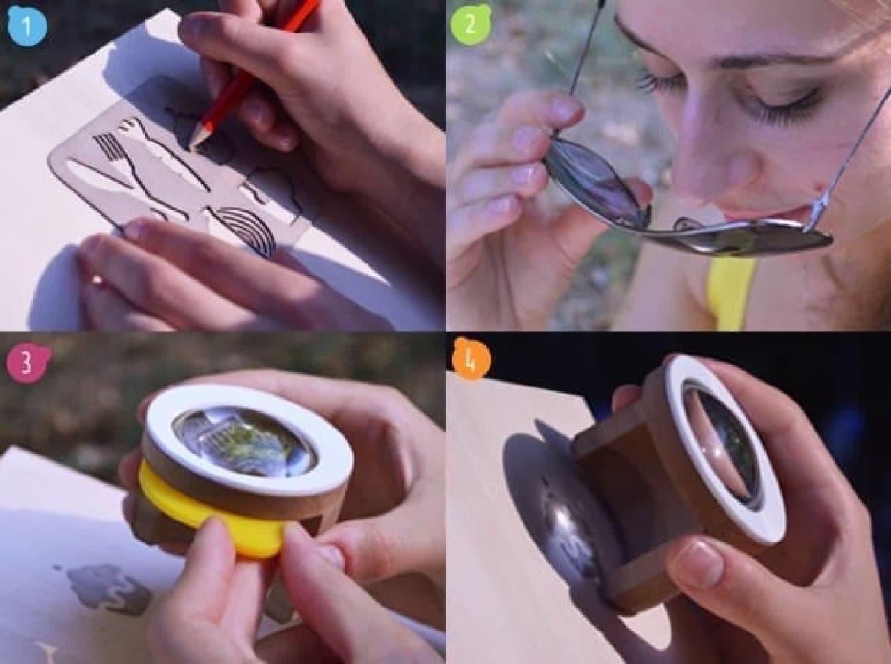 「FEBO」を使った熱彫刻手順  1. 鉛筆で下書きし  2. サングラスを装着  3. 「FEBO」のセイフティフィルターを外したら  4. 熱彫刻を開始