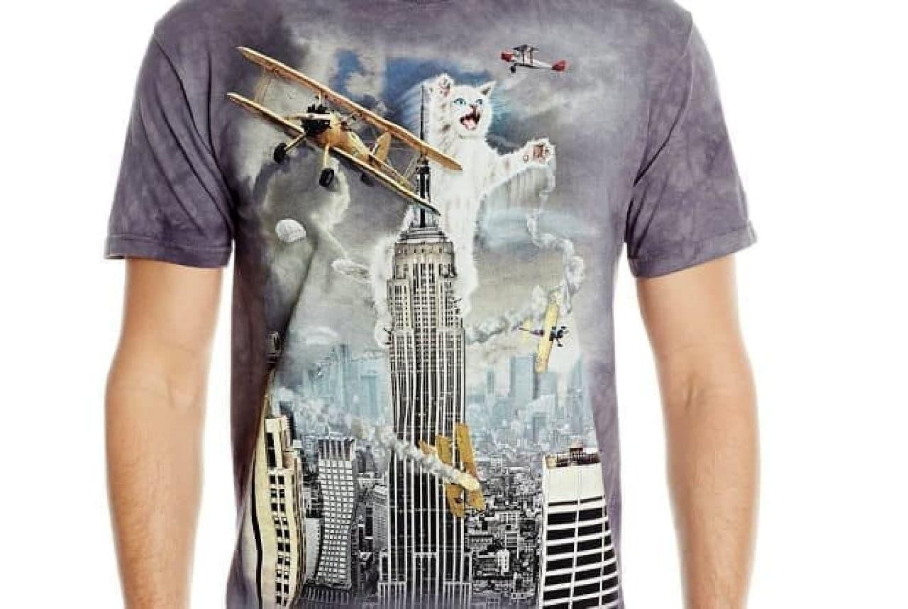 「King Kitten」Tシャツ  ネコがエンパイヤステートビルで大暴れしてます