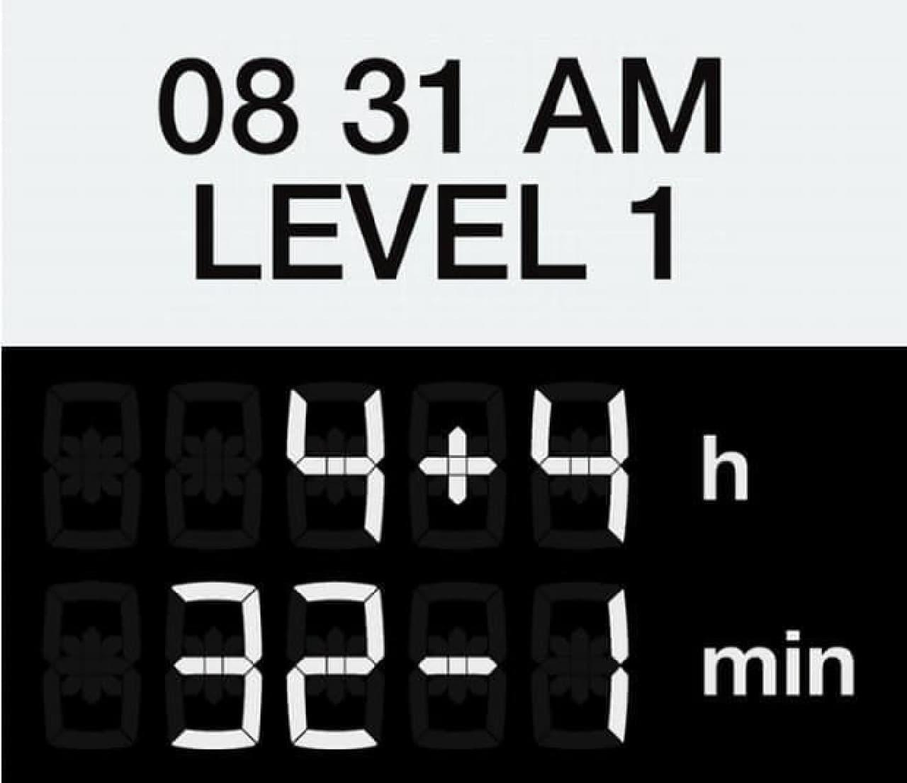 「LEVEL1」表示の例  これはさすがに見た瞬間に8時31分だと分かります