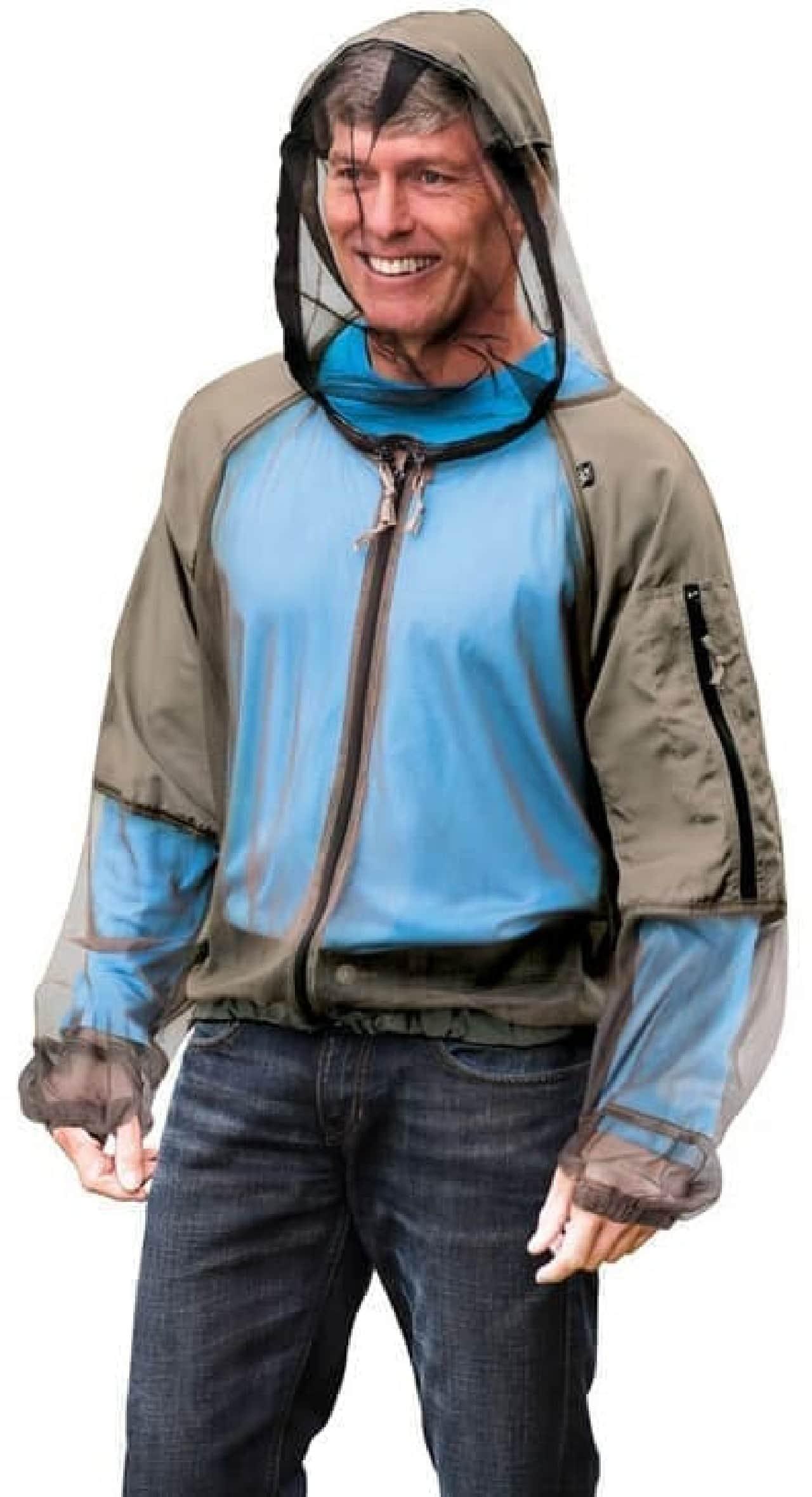 """参考画像:""""着る蚊帳""""「Hooded Zip Up Mosquito Jacket」(上半身保護部)  2ピースで恥ずかしくない…?"""