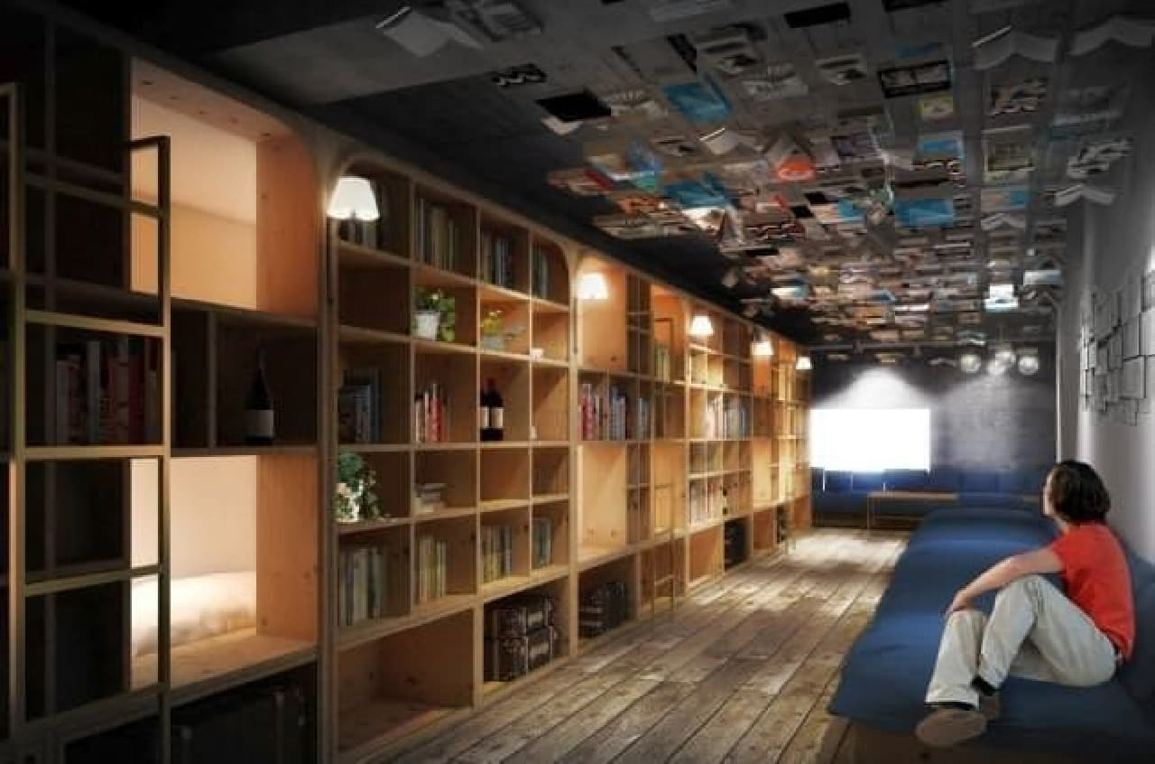 たくさんの本に囲まれて眠る、新感覚の宿泊施設