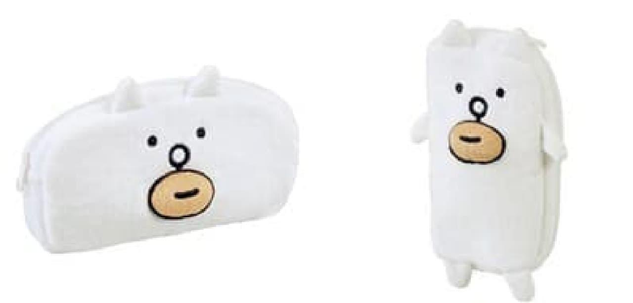 ぬいぐるみペンポーチ「かお」(画像左)と「全身」(画像右)