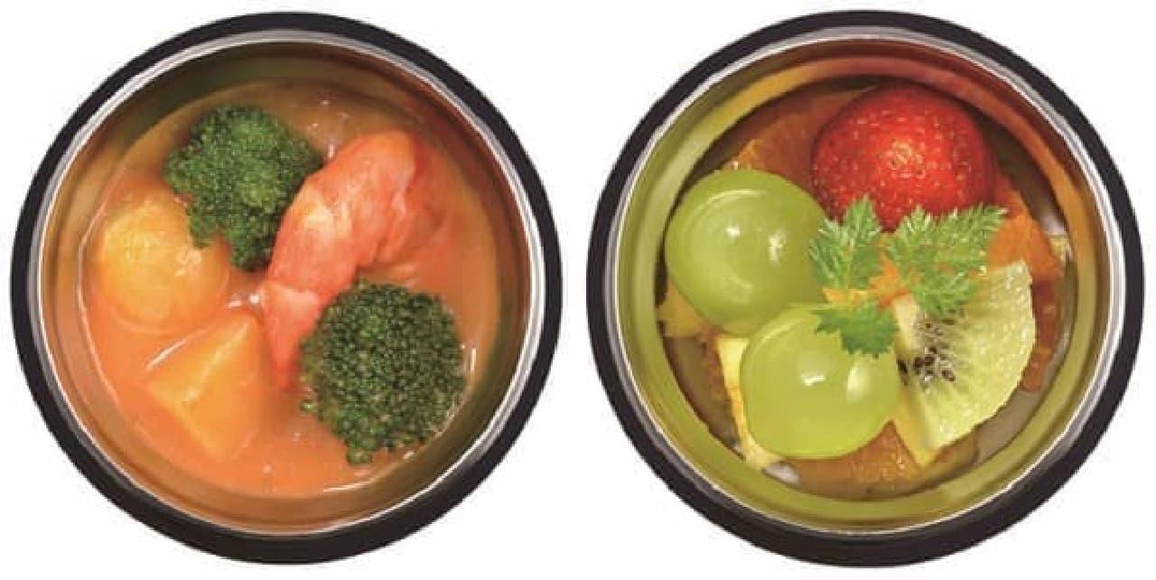 スープもデザートも食べごろ温度をキープ