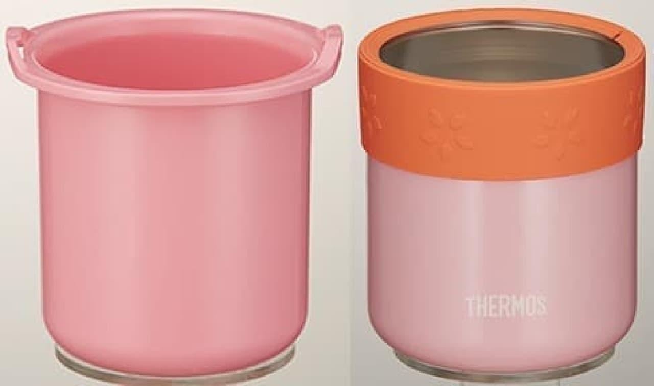 容器本体(左)を保温ケース(右)に入れて持ち運ぶ