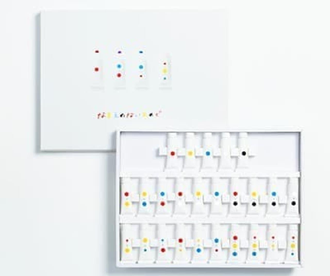 「KOKUYO DESIGN AWARD 2012」に出品された「なまえのないえのぐ」  当時は25色だった