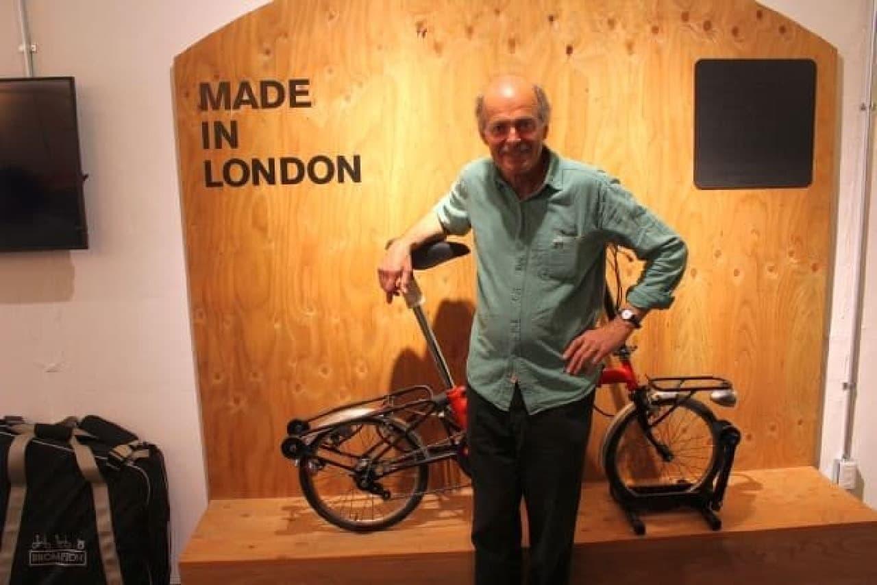 創業者のアンドリュー・リッチーさん  「BROMPTON」の自転車は、ロンドンで手作業で製造されていると語ってくれました