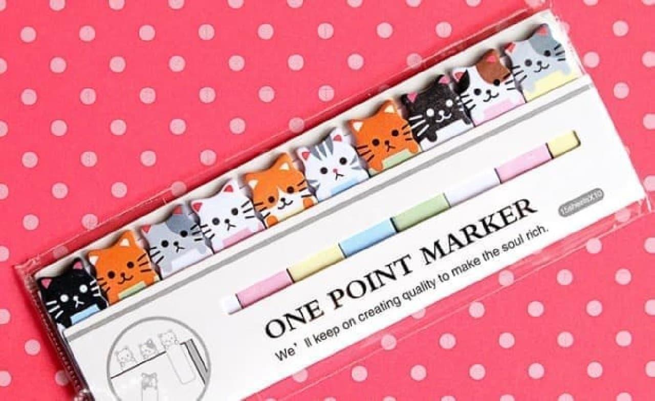 ネコがデザインされた付箋「One Point Marker」