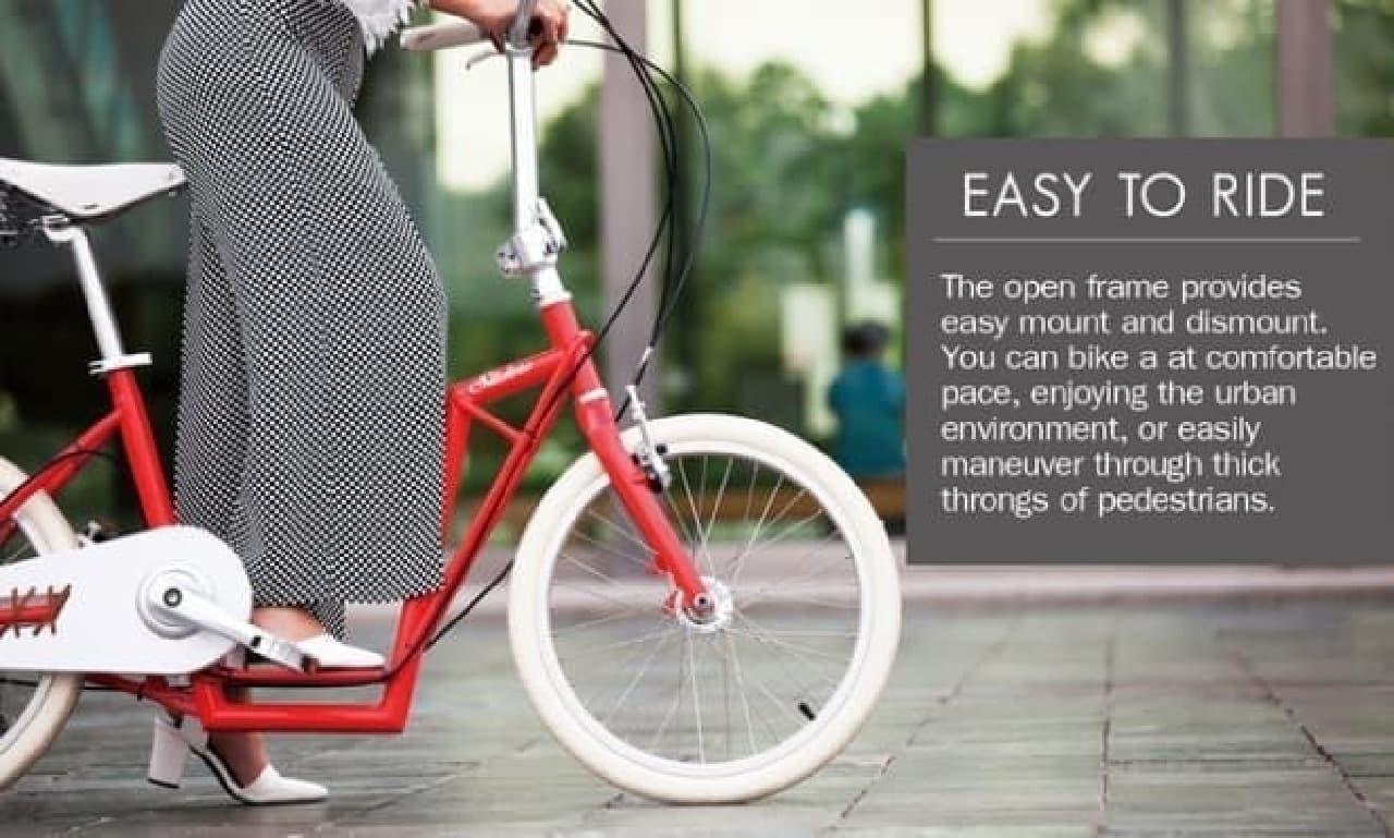 ダウンチューブが低いため、  長めのスカートやドレスを着用している女性でも乗り降りしやすい