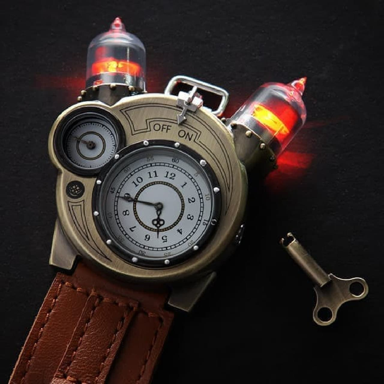 「Tesla Watch」の特徴は、真空管風ライトが取り付けられていること  真空管で動作している?