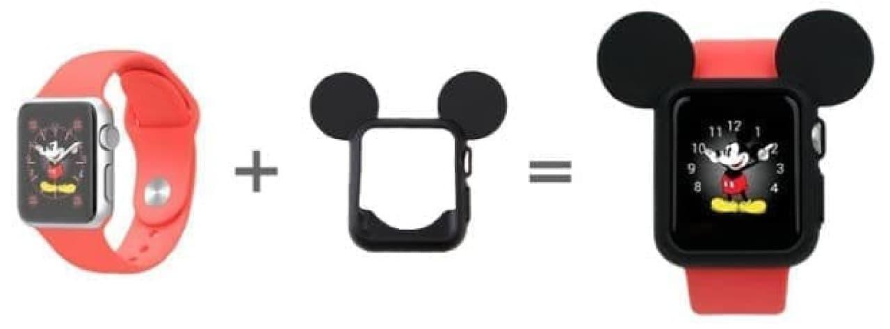 ディズニーデザインの文字盤とミッキーのカバーを合わせてコーディネート