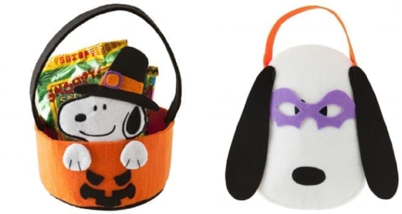(左)スヌーピー フェルトバケツ 900円  (右)スヌーピー ハロウィン アイマスクつきバッグ 900円(ともに税別)
