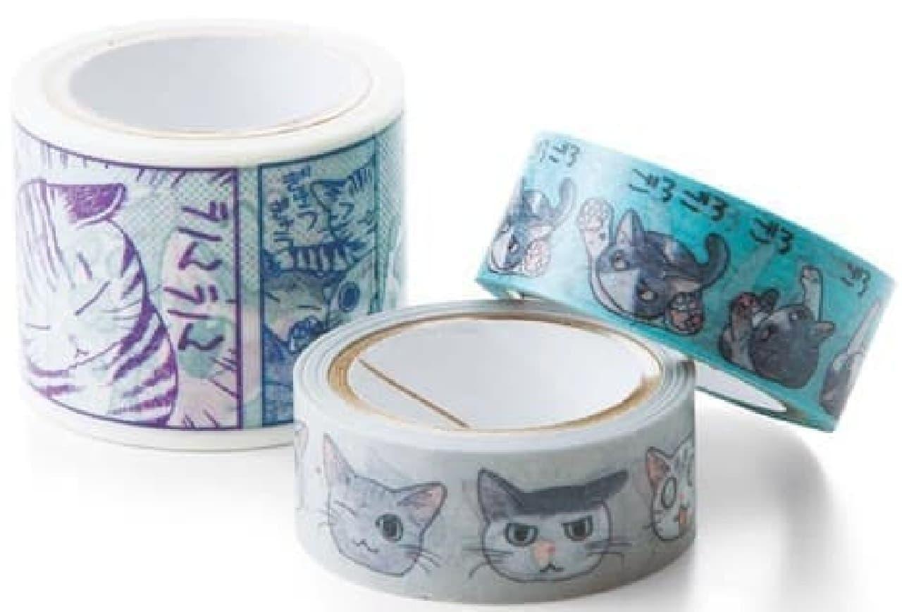 ネコのデザインされたマスキングテープ  「ニャニャッ! にゃんこまみれのニャスキングテープ 山野りんりんの巻」