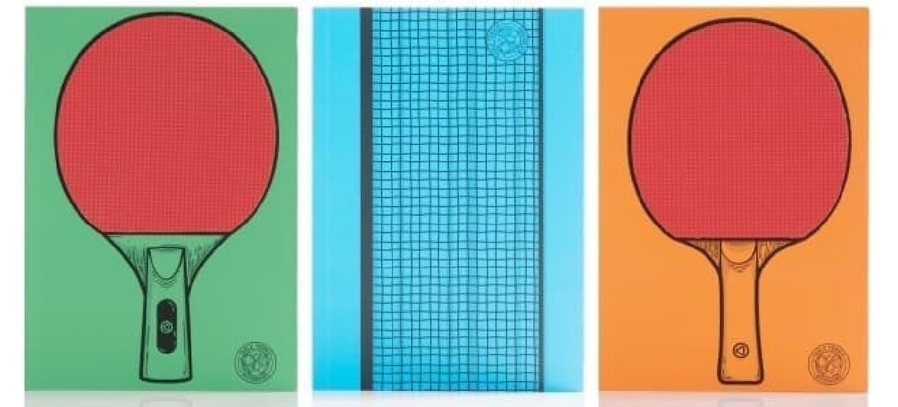 これが「Table Tennis Notebooks」  オフィスで卓球を楽しむためのノート3点セット