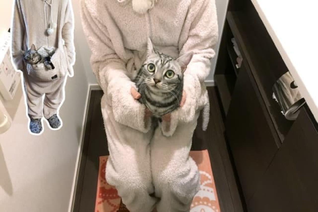 ネコを抱いたままトイレに行ける部屋着「ダメねこ」発売!