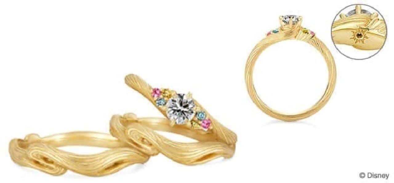婚約指輪「ラプンツェル(サイドストーン)」(右)とお揃いの結婚指輪