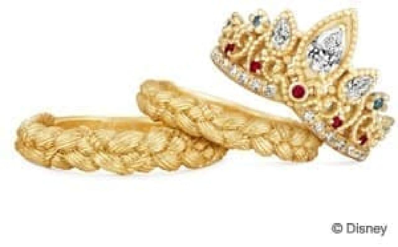 本物のプリンセス気分が味わえそうなティアラモデル(右)と  編み込み風の結婚指輪