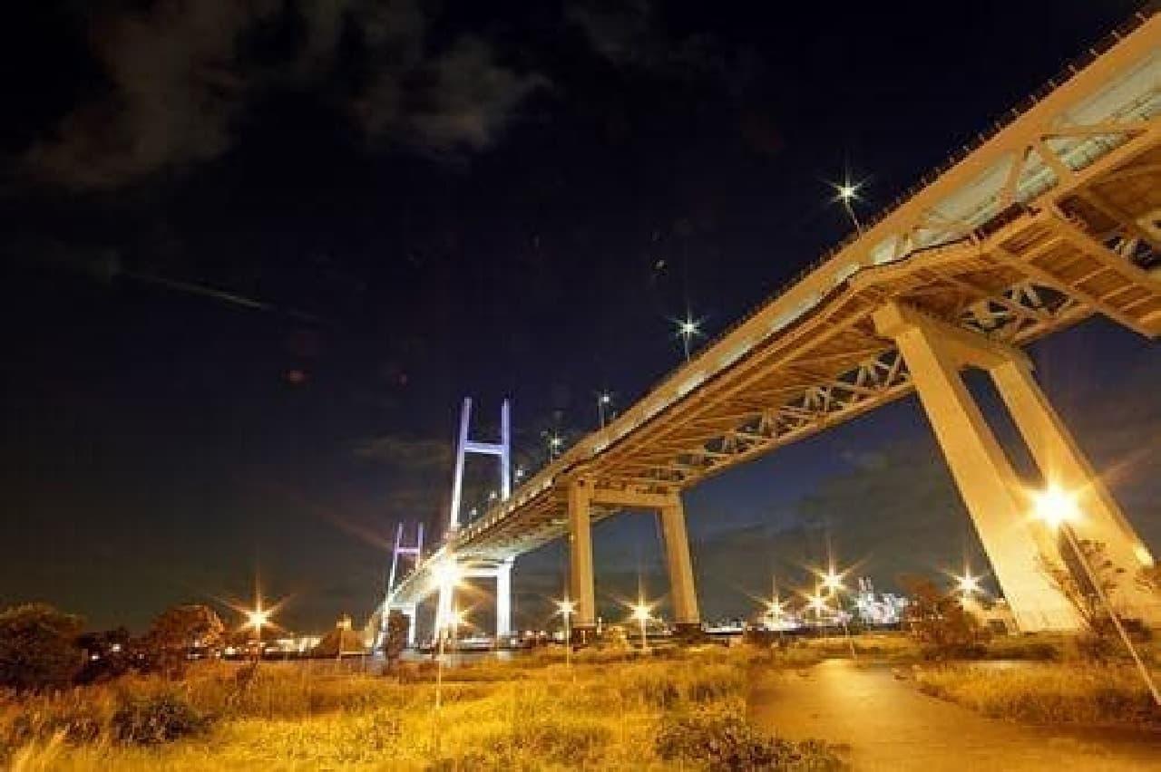 横浜ベイブリッジ(の真下)
