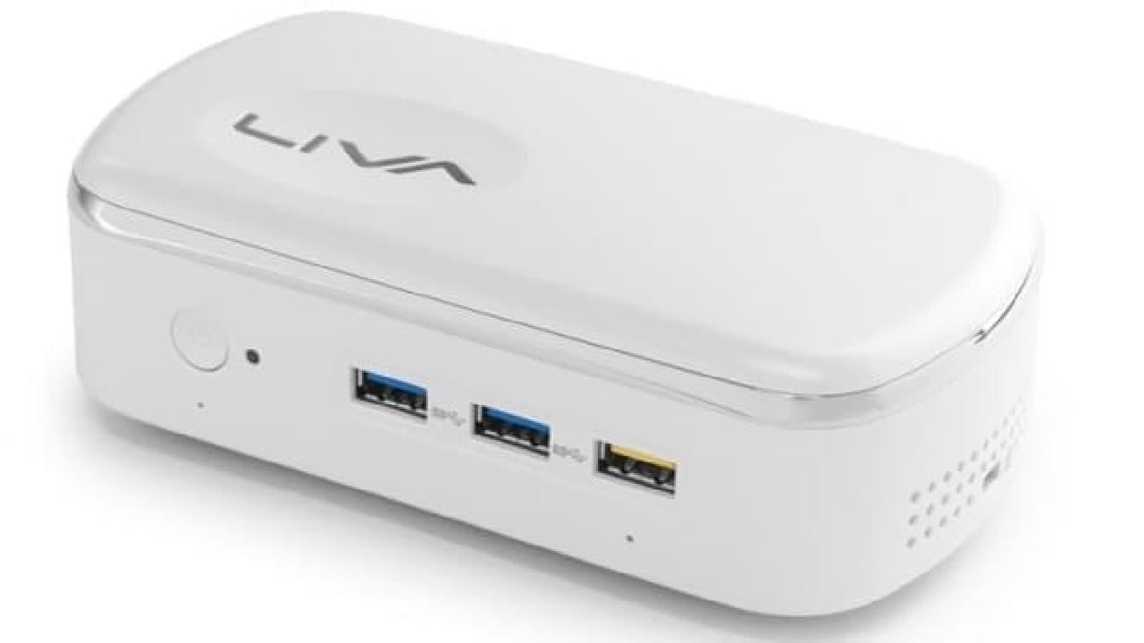 参考画像:オリジナルの「PC LIVA X2」  すでにかなり弁当箱っぽい外観だ  だが「LIVA X2 Limited Edition」は「一太郎」特別外装カラーにより  ますますお弁当箱の佇まいに