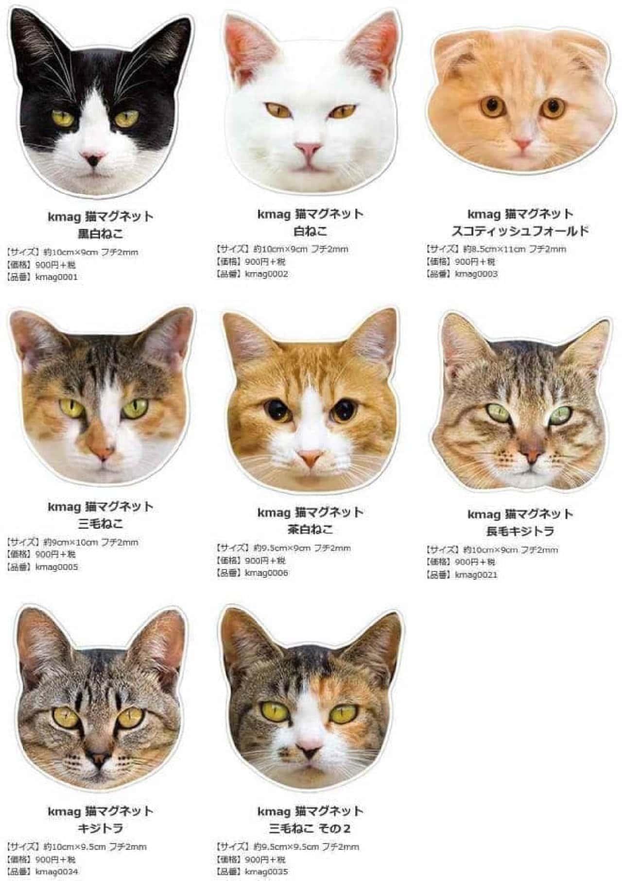 既発の「猫マグネット」  ネコのアップが特徴