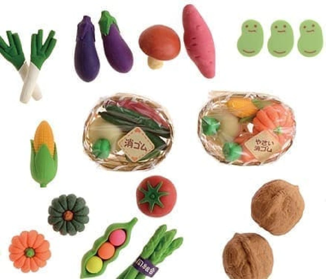 こちらは「野菜」をテーマに集められた消しゴムたち  アスパラに巻かれた農協シールがリアル?