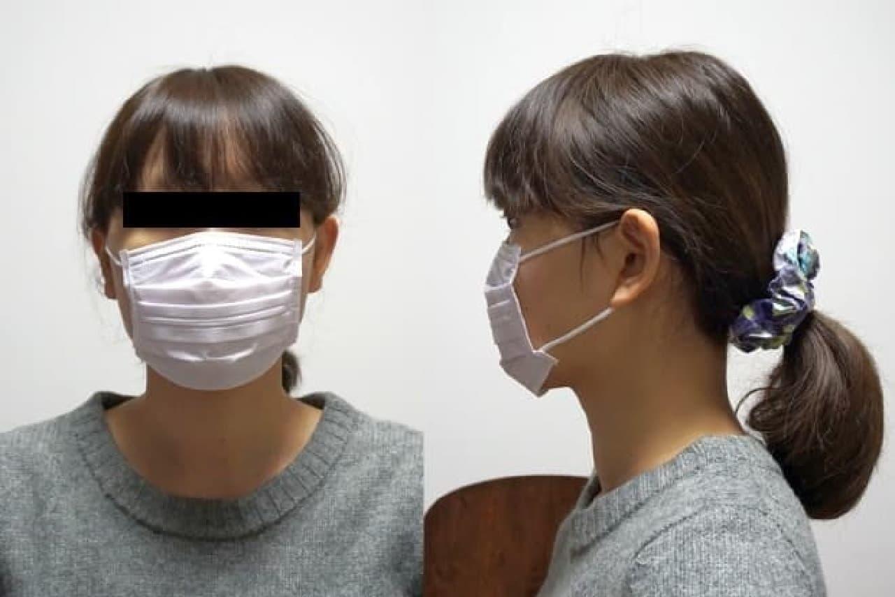 マスクにもほんのり色が付いています