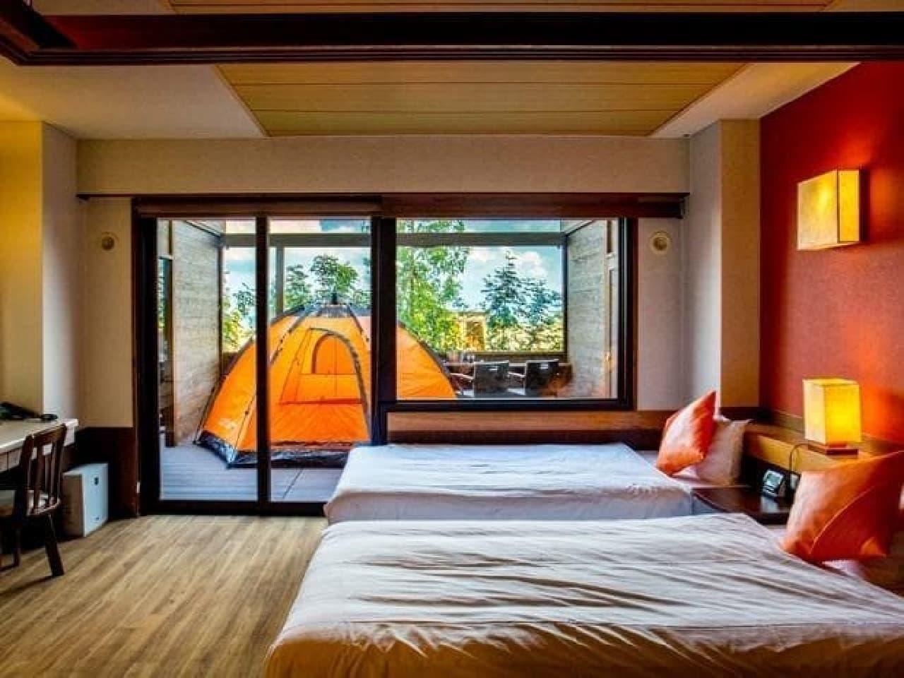 テントで寝ていても、旅館のトイレやシャワーを使用できる