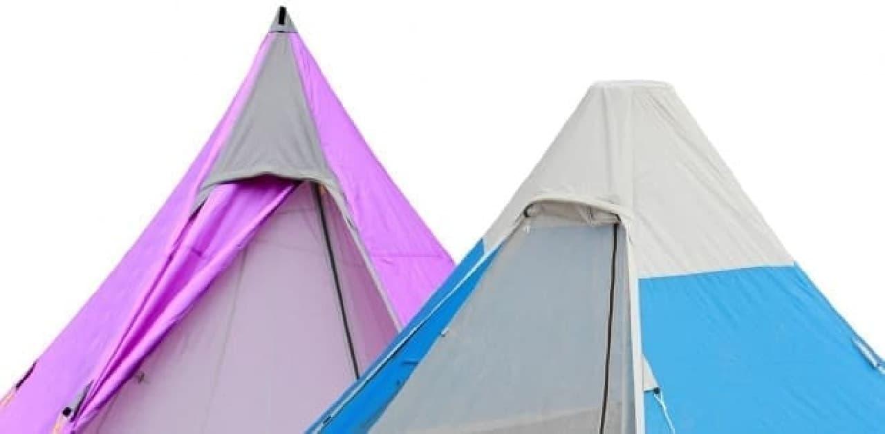 「富士山テント」は一般的なテント(左)とは異なり  てっぺんが平ら  富士山山頂の形状を表現している