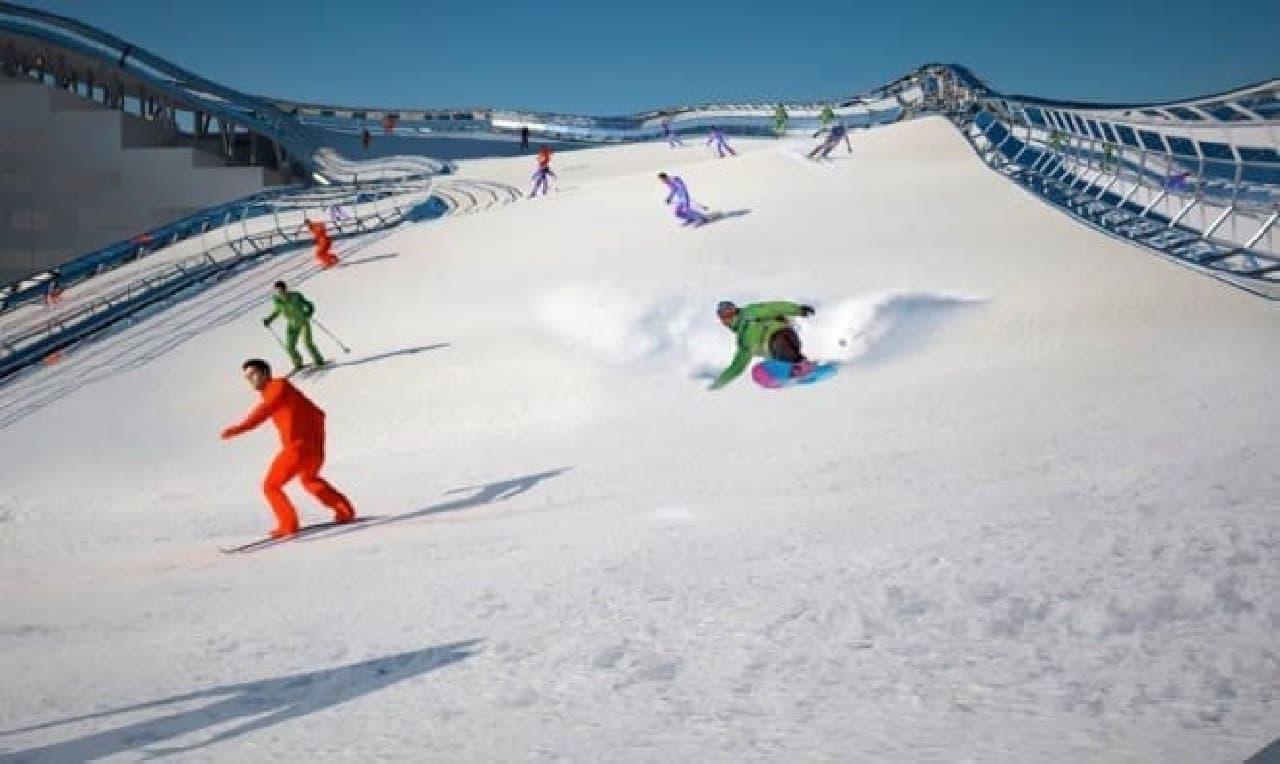 人工雪「Snowflex」により、一年中スキー・スノボを楽しめる