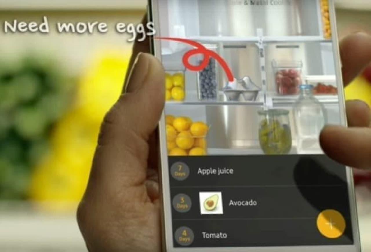 画像はスマートフォンでいつでも参照可能  スーパーで、冷蔵庫に何が不足しているか、確認できます