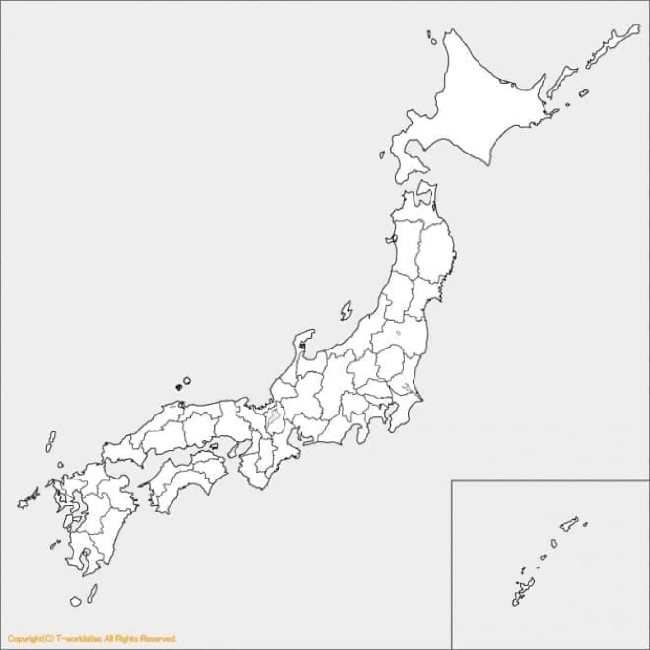 こういう白地図を壁に貼り、  制覇した都道府県を塗りつぶしています