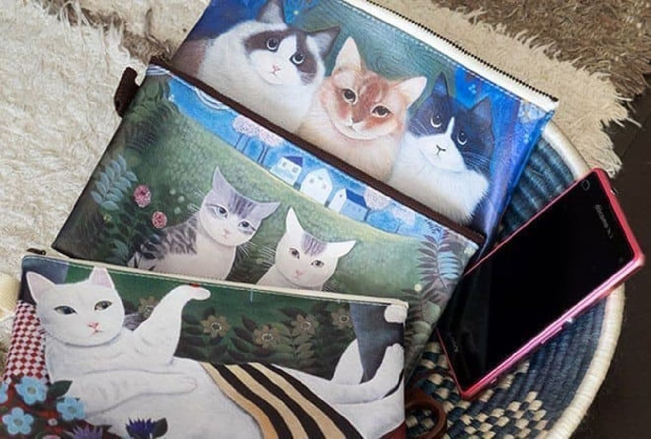 平ポーチのラインナップ  上から「北の国から3兄弟」「2匹の猫」「小さなお客さん」