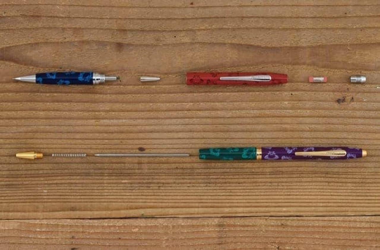 シャープペンシル(上)とボールペン(下)の構造